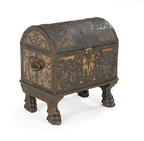Iberian Leather-Clad Domed Trunk-on-Stand
