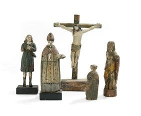 Five Carved and Painted Santos Figures