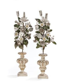Pair of Italian Parcel-Gilt and Tole Garnitures