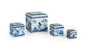 Four Chinese Export Blue and White Canisters