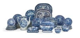 64 Pcs. of Blue & White Staffordshire Dinnerware