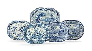 Five Staffordshire Blue & White Pottery Platters