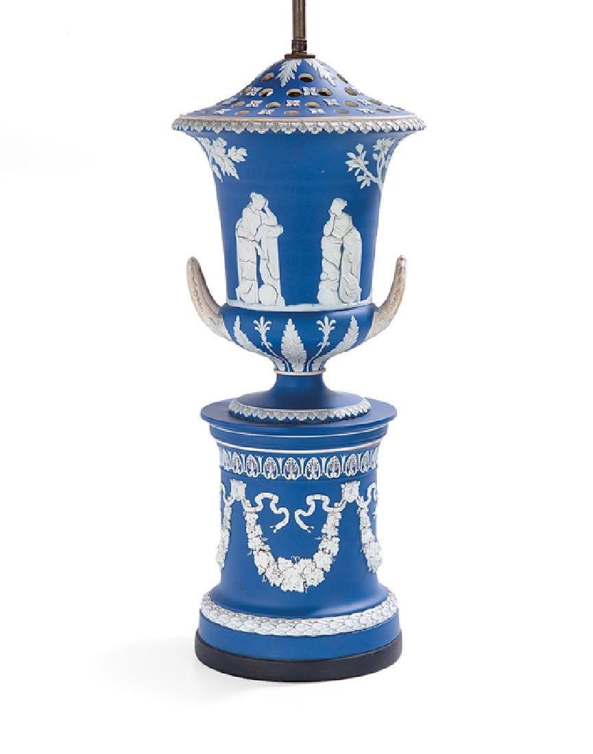 Handsome Edwardian Wedgwood-Style Jasperware Lamp
