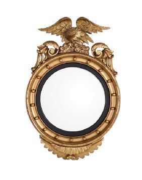 Regency Revival Giltwood Convex Mirror