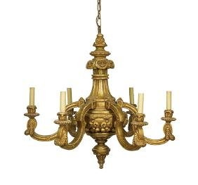 Louis XIV-Style Carved Giltwood Chandelier