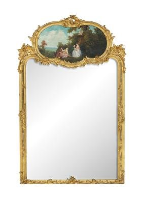 French Louis XV-Style Trumeau Mirror