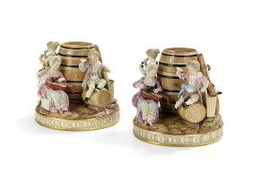 Pair of Meissen Figural Tobacco Jars