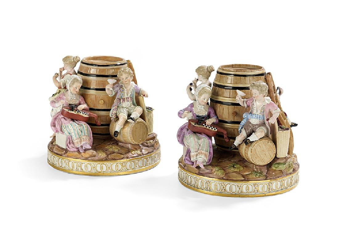 Pair of Meissen Figural Tobacco Jars