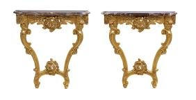 Pair of Louis XV-Style Marble-Top Console Tables