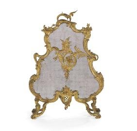 French Gilt-Bronze Firescreen