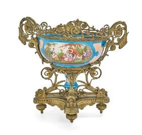 Sevres-Style Bronze and Porcelain Centerpiece