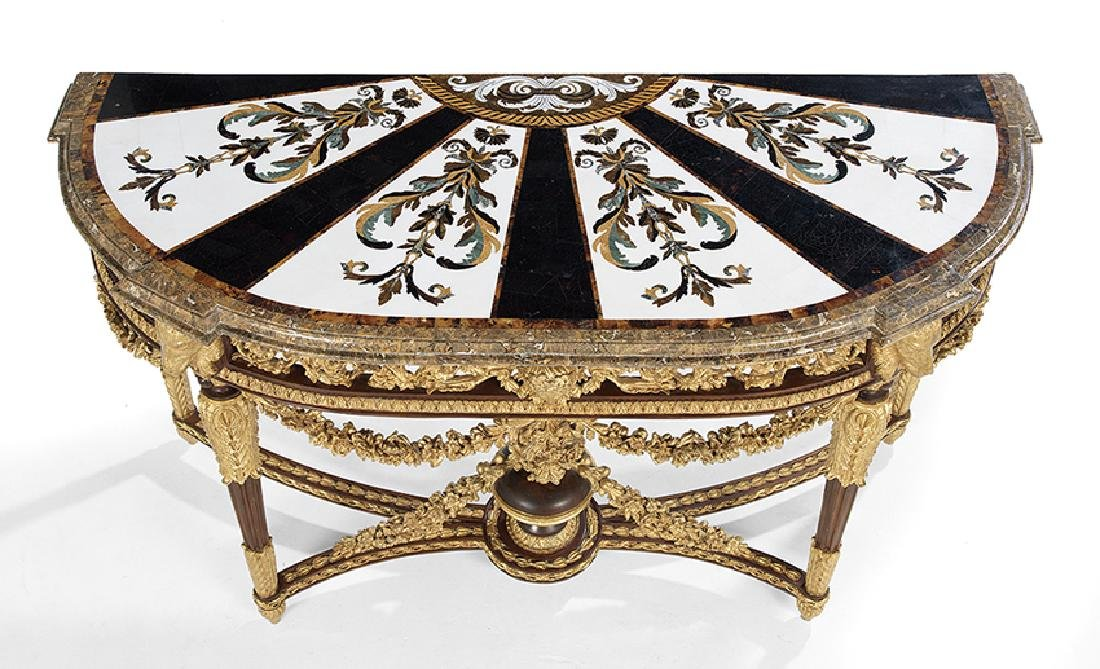 Louis XVI-Style Marble-Top Side Table - 2