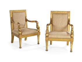 Pair of Empire-Style Giltwood Fauteuils
