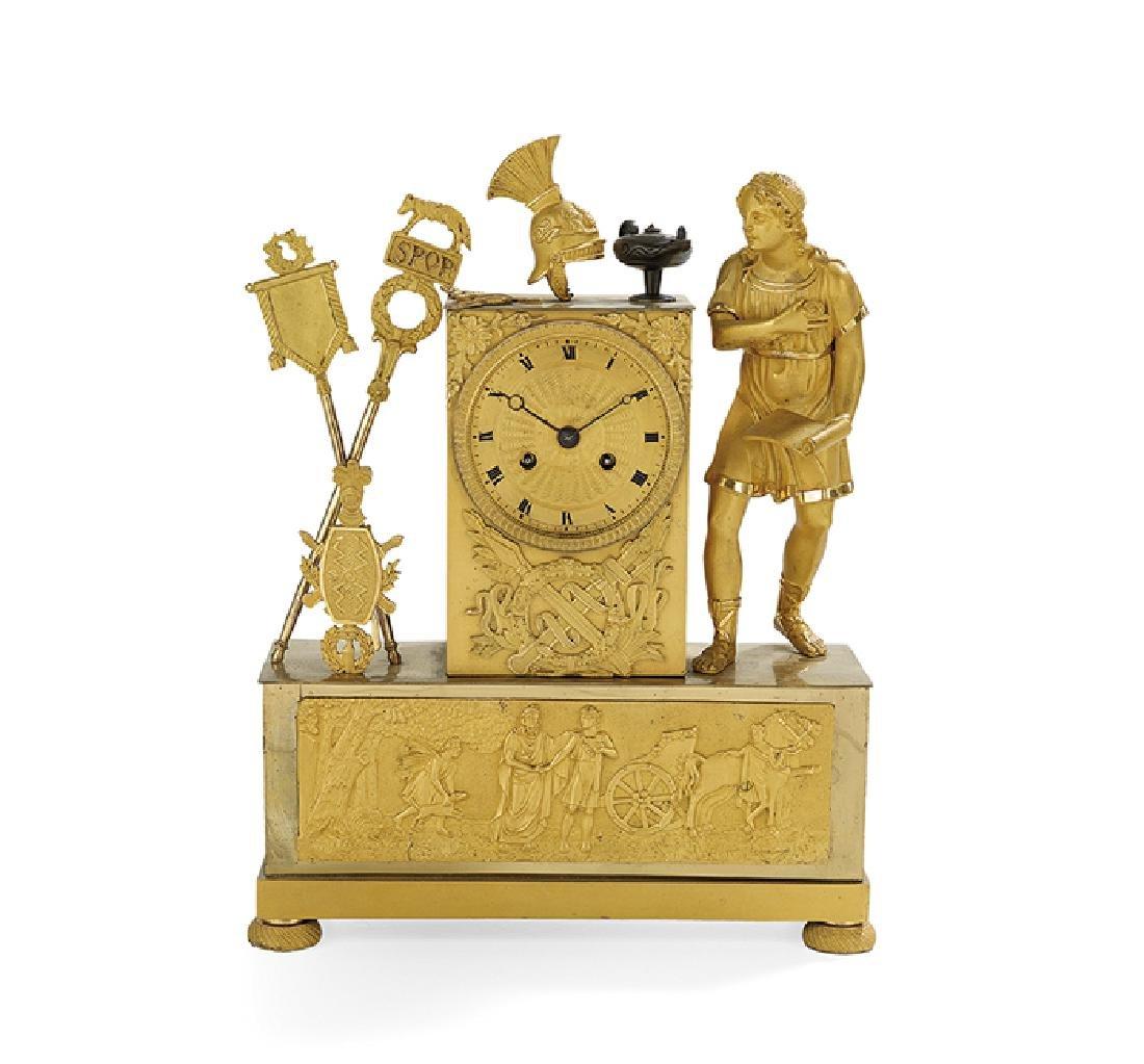 French Empire Gilt-Bronze Mantel Clock