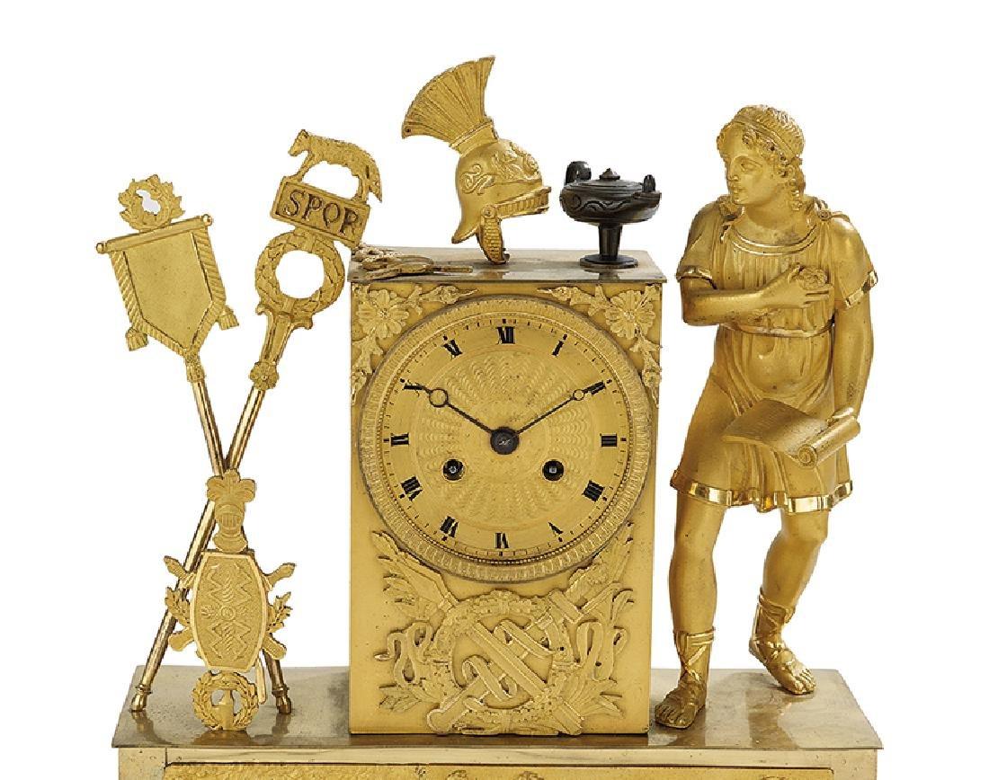 French Empire Gilt-Bronze Mantel Clock - 3