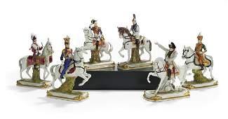 Six German Porcelain Figures of Military Notables