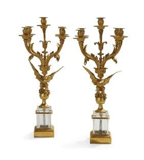 Pair of French Empire-Style Candelabra