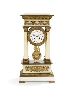 French Empire-Style Portico Clock