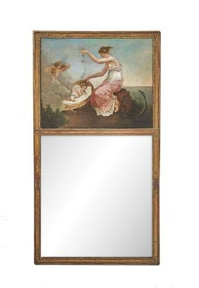 French Neoclassical-Style Giltwood Trumeau Mirror