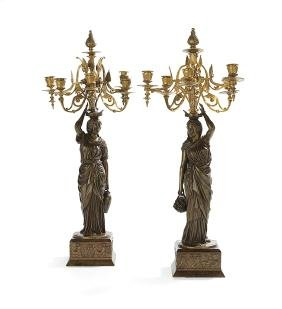 Pair of French Bronze and Wood Candelabra