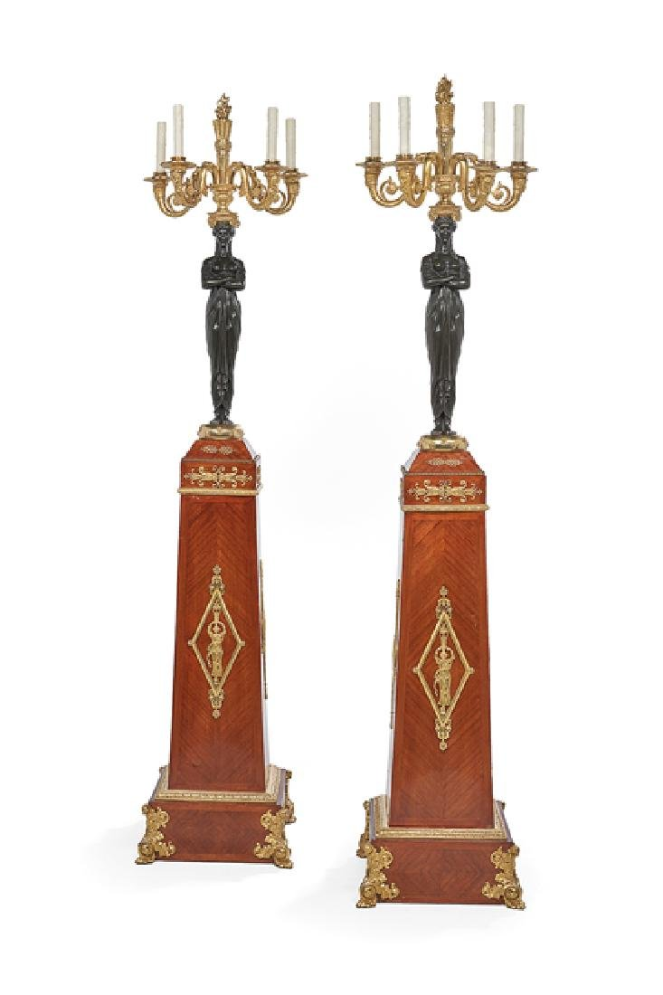 Pair of French Mahogany and Bronze Torcheres