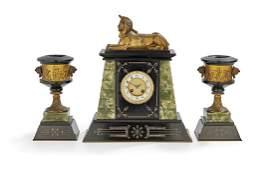 French Egypto-Revival Three-Piece Clock Set