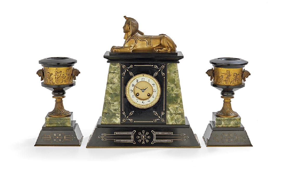 French Egypto-Revival Three-Piece Clock Set