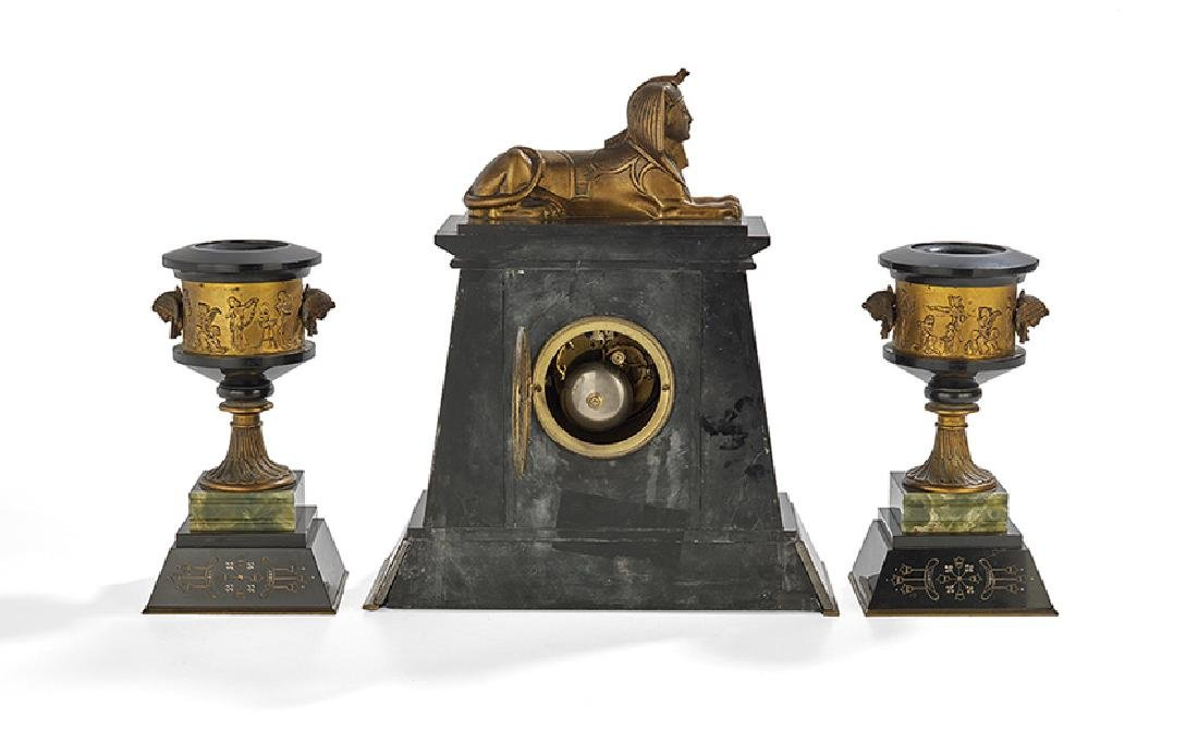 French Egypto-Revival Three-Piece Clock Set - 2