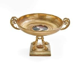 French Gilt-Bronze, Enamel and Marble Tazza