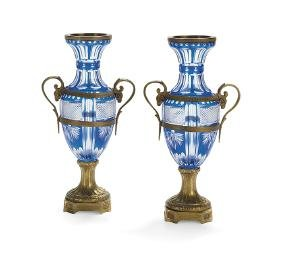 Pair of French Bronze and Cobalt-Plated Cut Urns