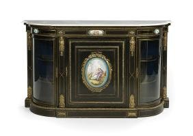 Napoleon III Ebonized and Marble-Top Cabinet