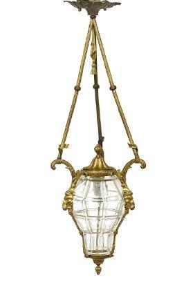 Neoclassical-Style Bronze & Crystal Hall Lantern