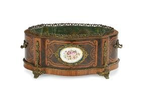 Napoleon III Marquetry and Porcelain Jardiniere