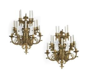 Monumental Pair of French Gilt-Bronze Sconces
