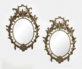 Pair of French Louis XV-Style Giltwood Mirrors
