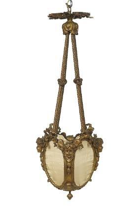 French Fin-de-Siecle Bronze Hall Lantern
