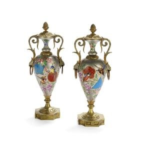 Pair of French Porcelain and Bronze Garnitures