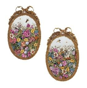Pair of Mounted Sevres-Style Porcelain Plaques