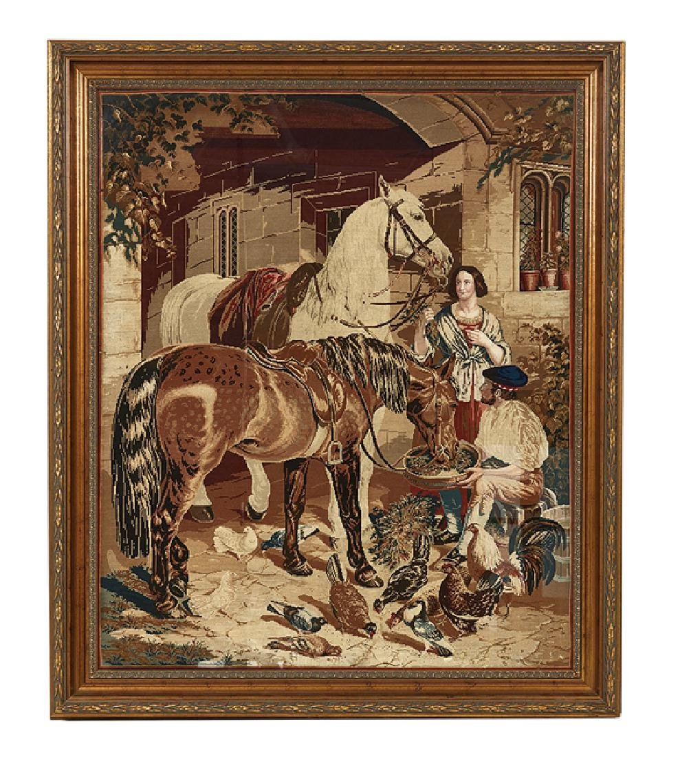 "British Wool Embroidery of ""In the Stable-Yard"""