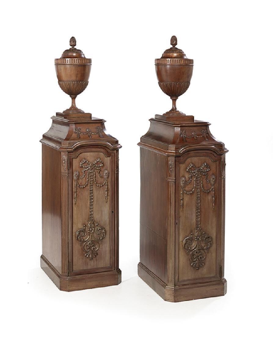 Pair of English Mahogany Knife Urns and Pedestals
