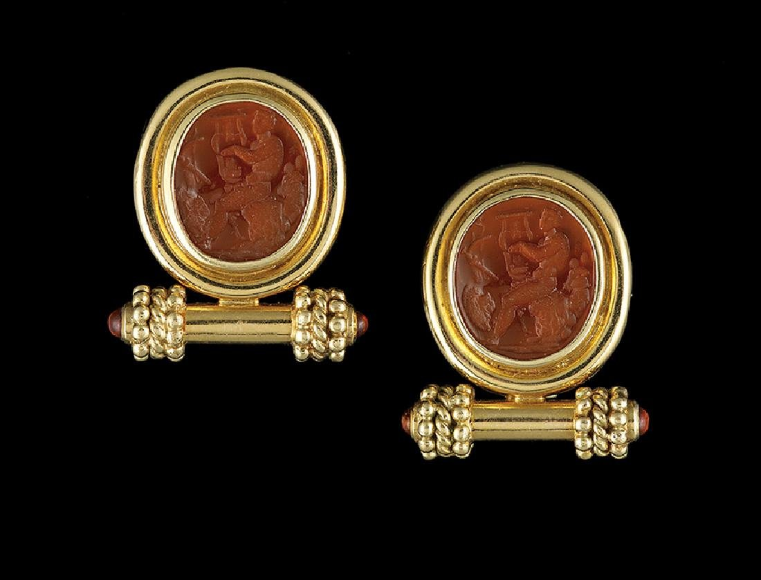 Pair of Elizabeth Locke 18 Kt. Intaglio Earrings