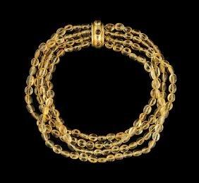 Elizabeth Locke 18 Kt. Gold and Citrine Necklace