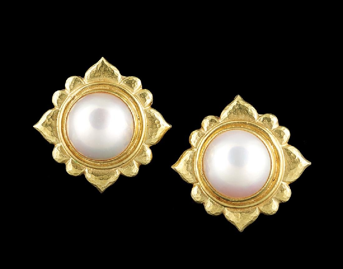 Pair of Elizabeth Locke Mabe Pearl Earrings