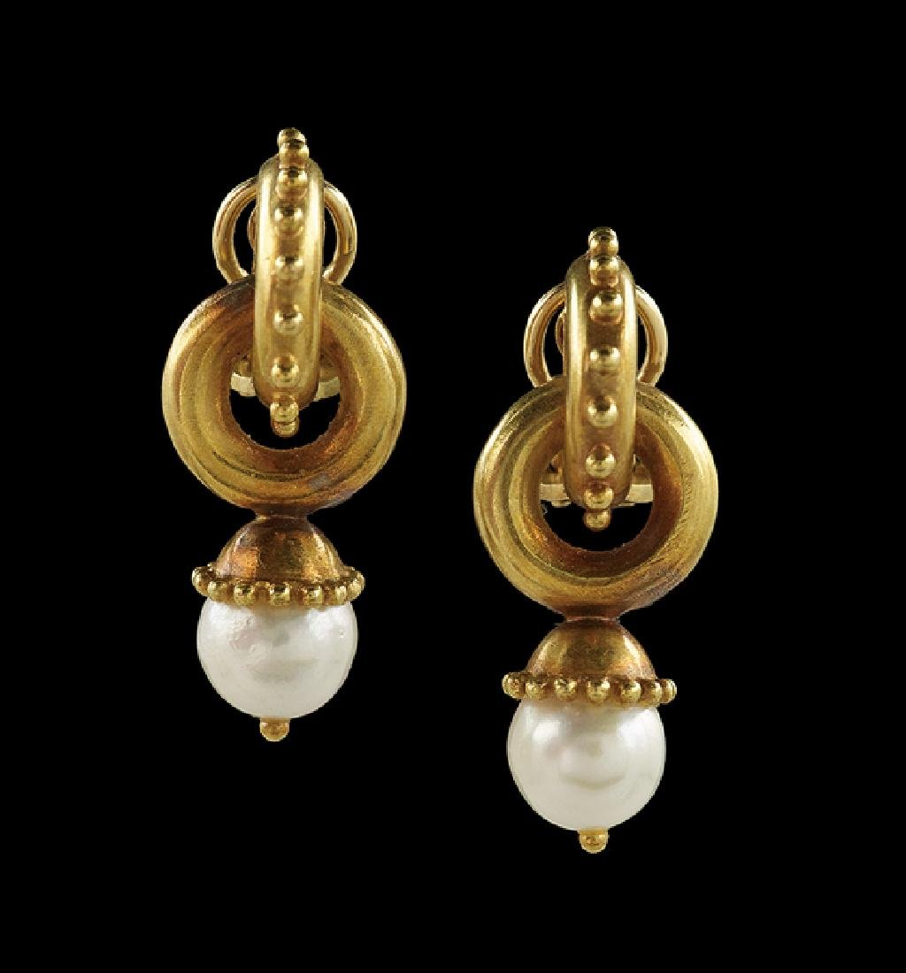 Pair of Elizabeth Locke Pearl Earrings