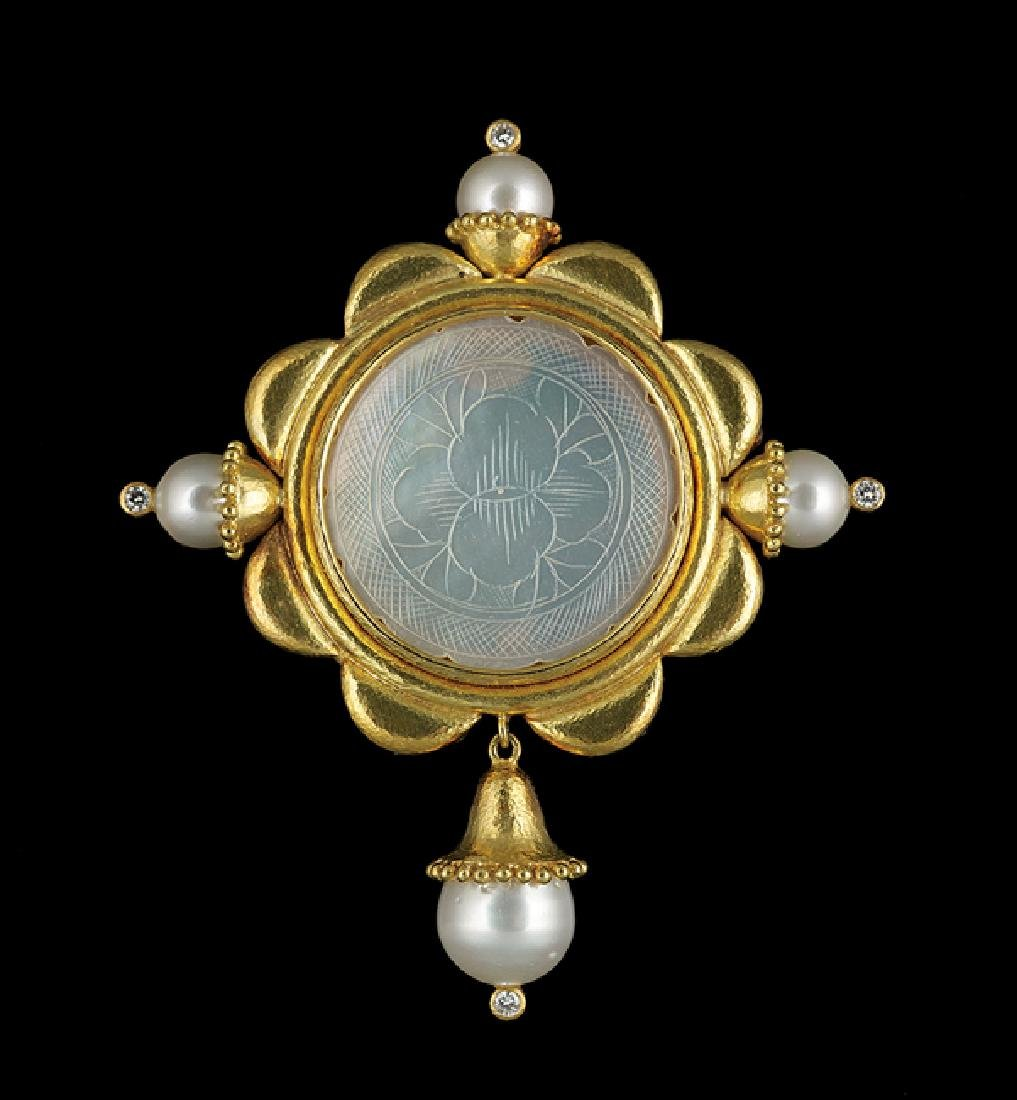 Elizabeth Locke 18 Kt. & Mother-of-Pearl Brooch