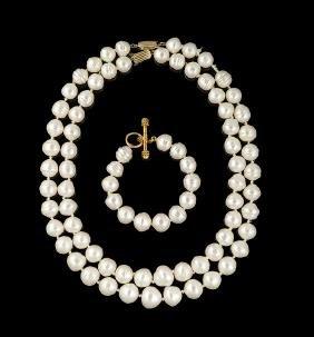 Elizabeth Locke 18 Kt. Gold and Pearl Bracelet