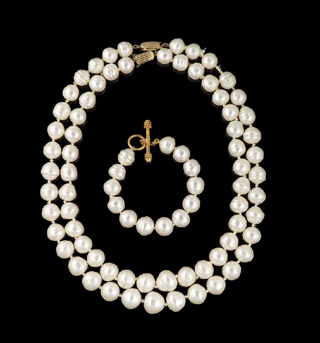 Elizabeth Locke 18 Kt. Gold and Pearl Bracelet