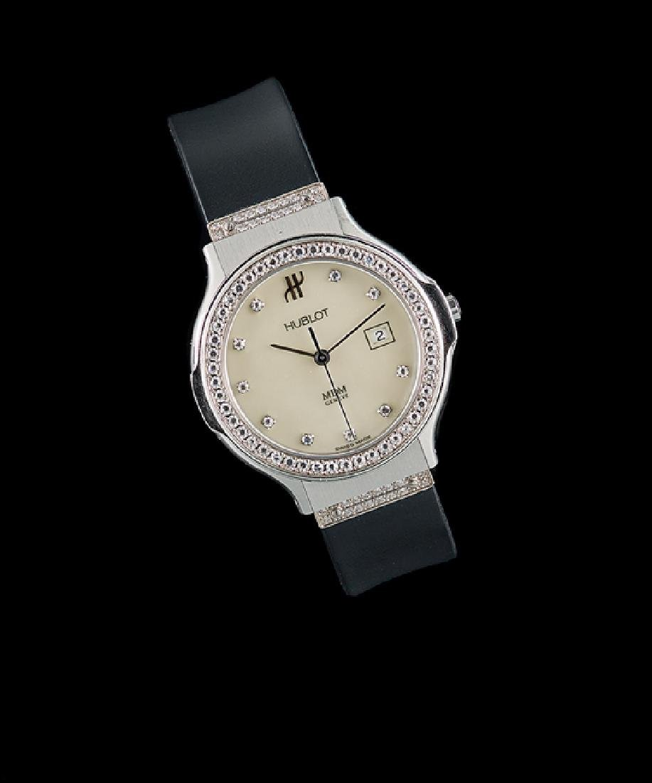 Lady's Hublot 18 Kt./Steel & Diamond MDM Watch
