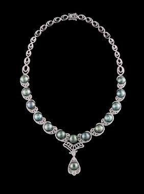 14 Kt. Gold, Tahitian Pearl and Diamond Necklace