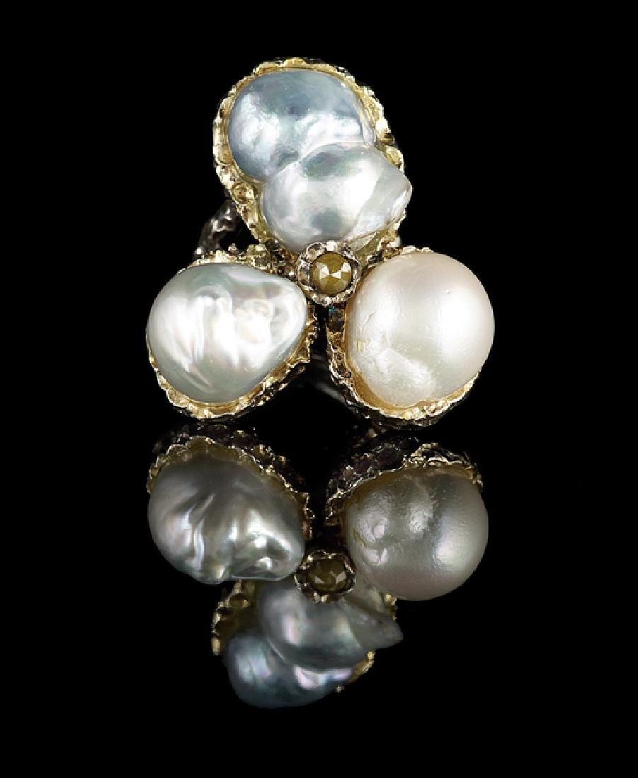 Silver-Gilt, Diamond and Baroque Pearl Ring